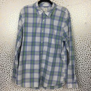 GAP Lived In Plaid Button Front Shirt Green Blue